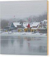 Snow Falling On Boathouse Row Wood Print