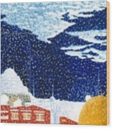 snow falling on Istanbul Wood Print