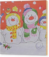Snow Family Wood Print by Diane Matthes