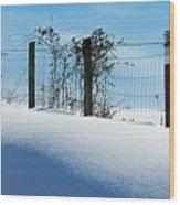 Snow Fence Wood Print by Joyce Kimble Smith
