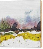 Snow Field Wood Print