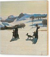 Snow Fields Wood Print