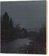 Snow Flakes By Little River Stowe Vermont Wood Print