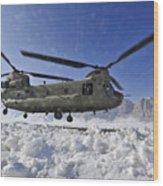 Snow Flies Up As A U.s. Army Ch-47 Wood Print