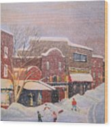 Snow For The Holidays Painting Wood Print