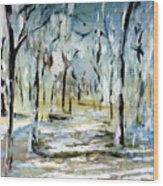 Snow Forest Wood Print