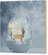Snow Globe For Christmas With Reindeer Wood Print