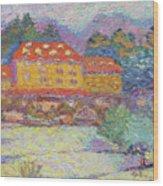 Snow Grove Park Inn Wood Print