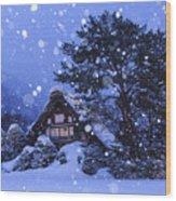 Snow, Historic Villages Of Shirakawa, Japan Wood Print
