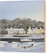 Snow In Red Wharf Bay Wales Wood Print