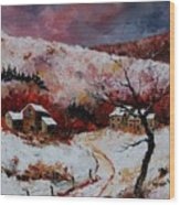 Snow In The Ardennes 78 Wood Print by Pol Ledent