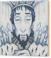 Snow King Slumbers Wood Print