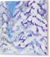 Snow Laden Trees Wood Print
