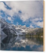 Snow Lake Vista Wood Print