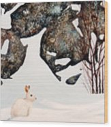 Snow Ledges Rabbit Wood Print