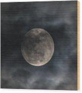 Snow Moon On A Cloudy Night Wood Print