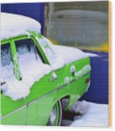 Snow On Car Wood Print