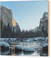 Snow On Large Rocks With El Capitan In The Background Wood Print