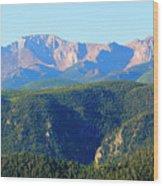 Snow On Pikes Peak Wood Print