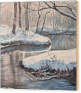 Snow On Riverbank Wood Print