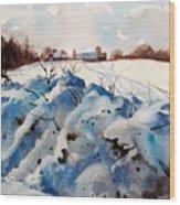 Snow On Southwick I Wood Print by Elizabeth Carr