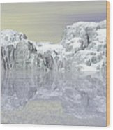 Snow On The Coast Wood Print