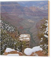 Snow On The Grand Canyon Wood Print