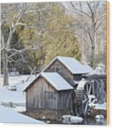 Snow On The Mill Wood Print