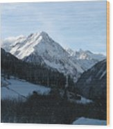 Snow On The Mountains Wood Print