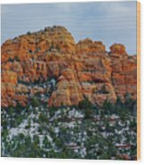 Snow On The Red Rocks Wood Print