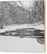 Snow On The Stream Wood Print