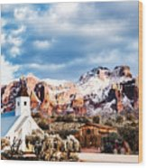 Snow On The Superstitions Wood Print