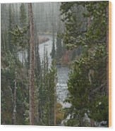 Snow On The Yellowstone River Wood Print