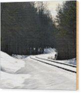 Snow On Tracks Wood Print