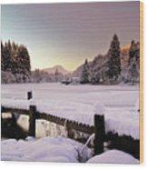 Snow Over Loch Ard Wood Print
