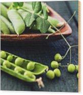Snow Peas Or Green Peas Still Life Wood Print