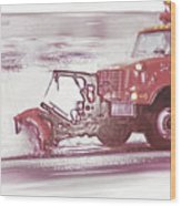 Snow Plow In Business Park 2 Wood Print