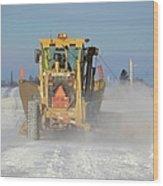 Snow Plowing Wood Print