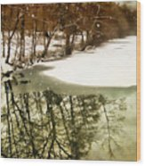 Snow Pond Wood Print