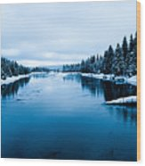 Snow River Horizon Wood Print