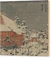 Snow Scene At Sens Ji Temple At Kinry Zan In The Eastern Capital Wood Print