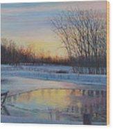 Snow Scene At Sunset Wood Print