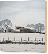 Snow Scene Barkisland Wood Print