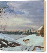 Snow Scene In New England Wood Print by American School