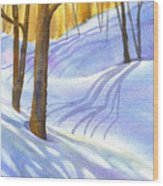 Snow-shadows Wood Print