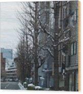 Snow Shibuya Tokyo Japan Wood Print