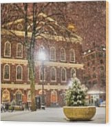 Snow Storm In Faneuil Hall Quincy Market Boston Ma Wood Print