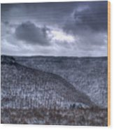 Snow Storm In The Mountains Wood Print