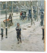 Snow Storm On Fifth Avenue Wood Print