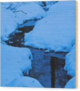 Snow Stream Wood Print